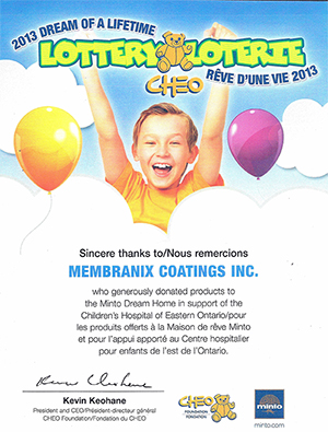 Support for the Minto Dream Home/CHEO